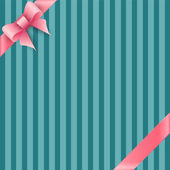 Bow and ribbon on blue striped background — Stock Vector