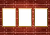 Frames for paintings or photographs on the brick wall background — Stock Vector