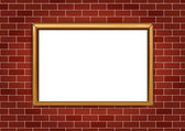 Frame for paintings or photographs on the brick wall background — Stock Vector
