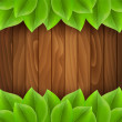 Green leaves on wooden background — Stock Vector #65848693