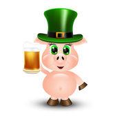 Świnia z piwem — Wektor stockowy