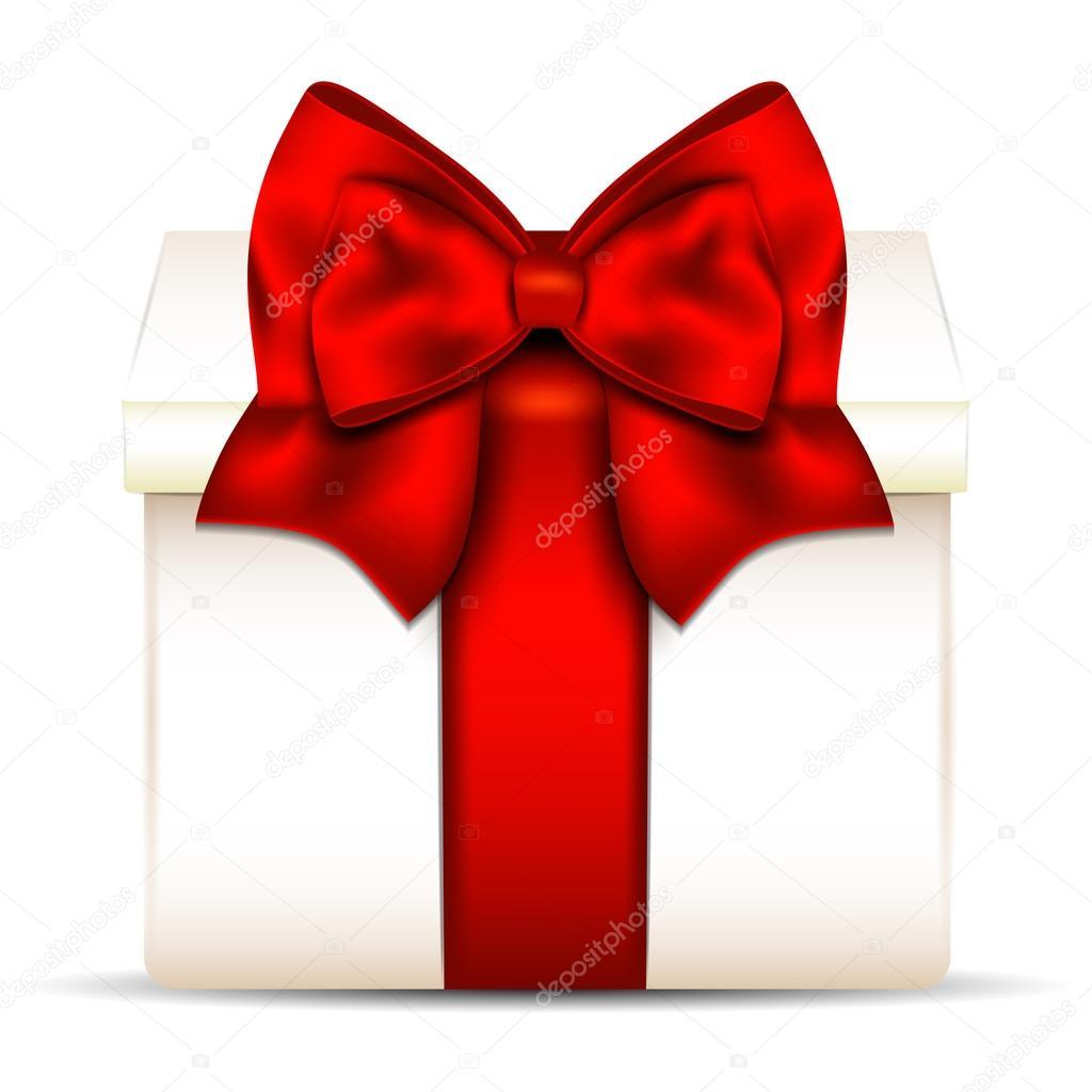 孤立在白色背景上的红色蝴蝶结礼品盒