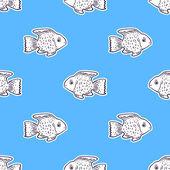 无缝模式与可爱的鱼 — 图库矢量图片