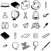 Set of various school elements — Stock Vector