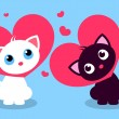 Two cute kittens in love — Stock Vector #57456897
