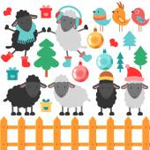 Cute sheep and christmas elements — 图库矢量图片