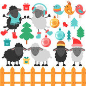 Cute sheep and christmas elements — Vector de stock