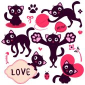 Set of cute playful kittens — Vector de stock