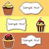Set of banners with sweet cupcakes — Vector de stock