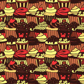 Seamless pattern with sweet cupcakes — Stock Vector