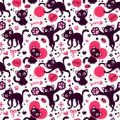 Seamless pattern with cute playful kittens — Stock Vector