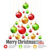 Christmas colorful baubles postcard — 图库矢量图片