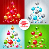 Colorful baubles postcard — Stockvektor