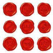 Set of red wax seals — Stock Vector