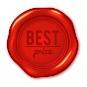 Text on red wax seal — Stock Vector