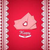 Pink Valentine envelope with heart — Stockvektor