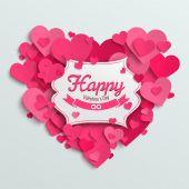 Valentine harten briefkaart — Stockvector