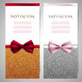 Invitation cards with bows — Stock Vector