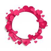 Corazones de papel rosado — Vector de stock