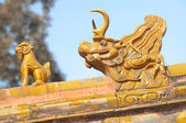 Orange roof guardians at the Forbidden City, Beijing, China — Stock Photo