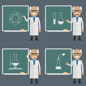 Old scientist indicates to chalkboard — Stock Vector