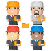 Engineer man smiling and holding folder — Stock Vector