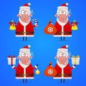Sheep Santa Claus in various poses — Vector de stock