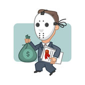 Businessman thief holding money and securities — Stockvektor