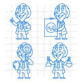 Professor doodle concept set 2 — Vecteur