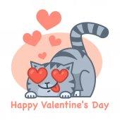 Valentine's Day love cat — Stock Vector