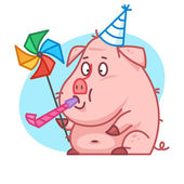 Pig character blowing in whistle — 图库矢量图片