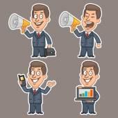 Fun businessman stickers concept set 2 — Stock Vector