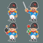 Napoleon Bonaparte character in various poses — Stock Vector