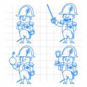 Napoleon Bonaparte character in various poses doodle — Stock Vector