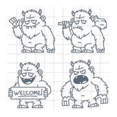 Bigfoot wicked good with cudgel doodle — Stock Vector