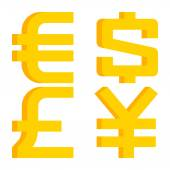 Currency signs euro, dollar, pound sterling, yen — Stock Vector