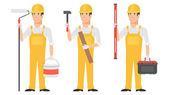 Builder holding instruments hammer roller level — Stock Vector