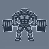 Panther bodybuilder lifting barbell and growls — Stock Vector