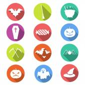 Plano iconos de halloween — Vector de stock