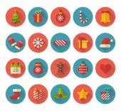 Christmas flat icons with long shadow effect — Stock Vector