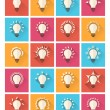 Set of colorful bulb flat icons. Vector illustration eps10 — Stock Vector #60993705