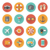 Summer holiday, tourism and vacation flat icons with long shadow effect. Vector illustration eps10 — Stock Vector