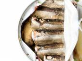 Canned smoked sprats — Stock Photo