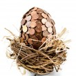 One eurocent egg in bird's nest — Stock Photo #58425133
