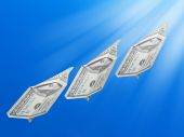 Money rising in the air — Stock Photo