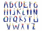 Construction man alphabet — Stock fotografie