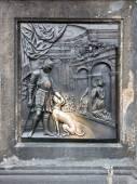Plaque on St. John Of Nepomuk Statue — Stock Photo