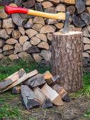 Axe on chopping block — Stock Photo