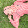 Beautiful muslim girl pink hijab wearing fashion — Stock Photo #52716339