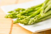 Bunch of fresh asparagus tie  — Stock Photo